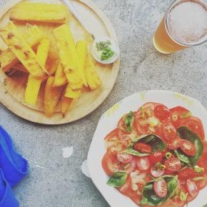 Crispy Polenta Chips with TomatoSalad
